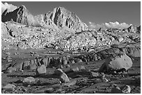 Glacial erratic boulders and mountains, Dusy Basin. Kings Canyon National Park, California, USA. (black and white)
