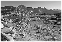 Alpine meadow, lake, and mountains, Dusy Basin. Kings Canyon National Park, California, USA. (black and white)