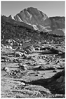 Alpine meadow, lake, and Mt Giraud, Dusy Basin. Kings Canyon National Park, California, USA. (black and white)