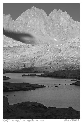 North Palissade rising above lake, Dusy Basin. Kings Canyon National Park (black and white)