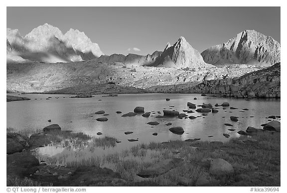 North Palissade, Isocele Peak and Mt Giraud reflected in lake, Dusy Basin. Kings Canyon National Park (black and white)