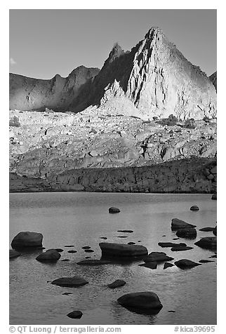 Isocele Peak reflected in lake, late afternoon, Dusy Basin. Kings Canyon National Park (black and white)