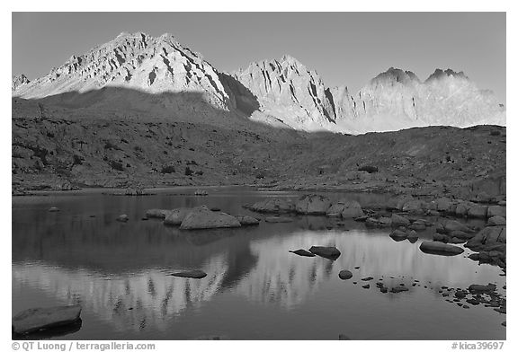 Agassiz, Winchell, Thunderbolt, Starlight, North Palissade reflected at sunset, Dusy Basin. Kings Canyon National Park (black and white)
