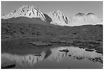 Agassiz, Winchell, Thunderbolt, Starlight, North Palissade reflected at sunset, Dusy Basin. Kings Canyon National Park, California, USA. (black and white)