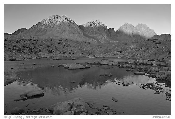 Palissades reflected in lake at sunset, Dusy Basin. Kings Canyon National Park (black and white)