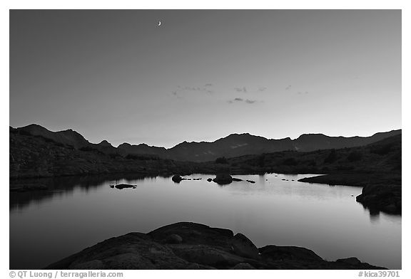 Lake at sunset, Dusy Basin. Kings Canyon National Park (black and white)