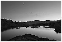 Lake at sunset, Dusy Basin. Kings Canyon National Park, California, USA. (black and white)