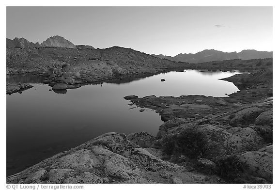 Lake and mountains at dusk, Dusy Basin. Kings Canyon National Park (black and white)