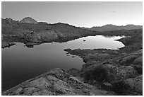 Lake and mountains at dusk, Dusy Basin. Kings Canyon National Park, California, USA. (black and white)
