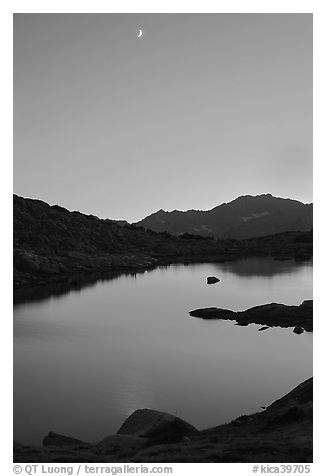 Lake and mountains with moon, Dusy Basin. Kings Canyon National Park (black and white)