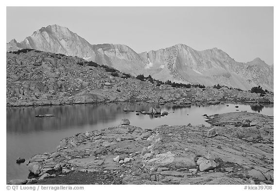 Lake and mountains at dawn, Dusy Basin. Kings Canyon National Park (black and white)