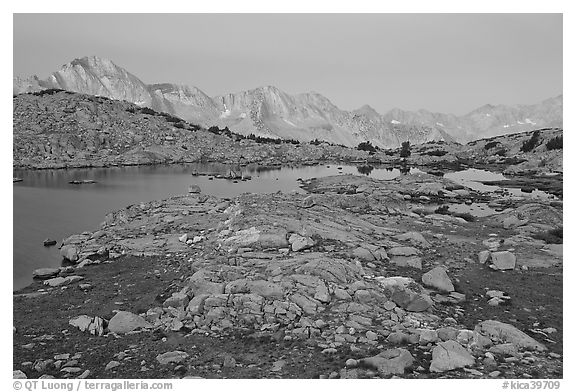 Alpine landscape, lakes and mountains at dawn, Dusy Basin. Kings Canyon National Park (black and white)