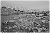 Alpine landscape, lakes and mountains at dawn, Dusy Basin. Kings Canyon National Park, California, USA. (black and white)