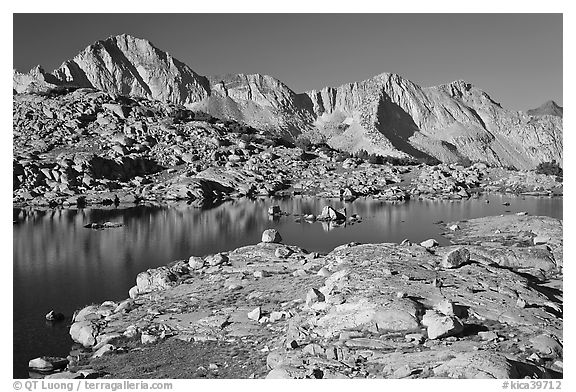 Lake and Mt Giraud range, morning, Dusy Basin. Kings Canyon National Park (black and white)