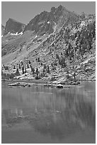 Mt Giraud and lake, Lower Dusy Basin. Kings Canyon National Park, California, USA. (black and white)