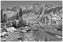Outlet stream, lake, and mountains, Lower Dusy Basin. Kings Canyon National Park ( black and white)