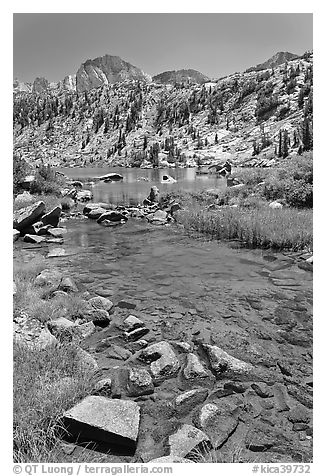 Stream, lake, and Mt Giraud, Lower Dusy Basin. Kings Canyon National Park (black and white)