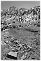 Stream, lake, and Mt Giraud, Lower Dusy Basin. Kings Canyon National Park, California, USA. (black and white)