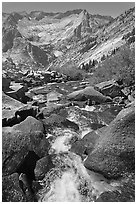 Stream plunges towards Le Conte Canyon. Kings Canyon National Park, California, USA. (black and white)