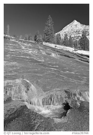 Water flowing over granite slab, Le Conte Canyon. Kings Canyon National Park (black and white)