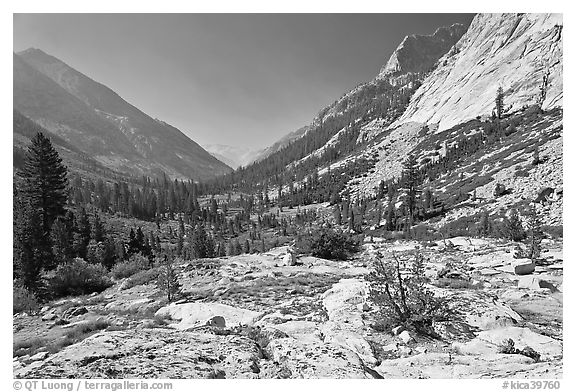 Rocks and meadows, Le Conte Canyon. Kings Canyon National Park (black and white)