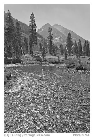 Middle Fork of  Kings River, Le Conte Canyon. Kings Canyon National Park (black and white)