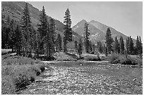 Glistening waters in middle Fork of the Kings River, Le Conte Canyon. Kings Canyon National Park, California, USA. (black and white)