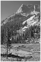 The Citadel rising above Le Conte Canyon. Kings Canyon National Park, California, USA. (black and white)
