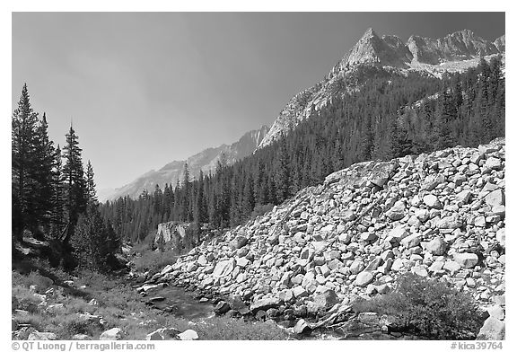 Scree slope, river, and The Citadel, Le Conte Canyon. Kings Canyon National Park (black and white)