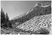 Scree slope, river, and The Citadel, Le Conte Canyon. Kings Canyon National Park, California, USA. (black and white)