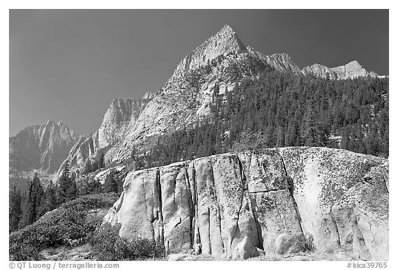 Granite block and peak, Le Conte Canyon. Kings Canyon National Park (black and white)