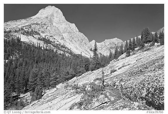 Granite slab and Langille Peak, Le Conte Canyon. Kings Canyon National Park (black and white)