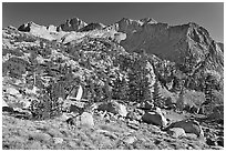 Mt Giraud chain, Lower Dusy basin. Kings Canyon National Park ( black and white)