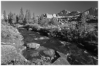 Stream and Mt Giraud chain, Lower Dusy basin. Kings Canyon National Park, California, USA. (black and white)