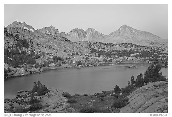 Columbine Peak and Palissades above lake at dusk, Lower Dusy basin. Kings Canyon National Park (black and white)
