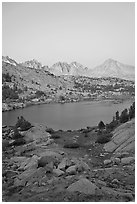 Palissades and Columbine Peak above lake at dusk, Lower Dusy basin. Kings Canyon National Park, California, USA. (black and white)