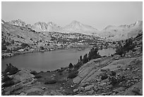 Palissade range and lake at dusk, Lower Dusy basin. Kings Canyon National Park ( black and white)