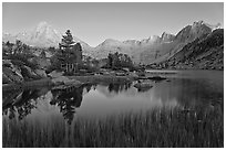 Lake, grasses, and Palissade mountains at dusk. Kings Canyon National Park, California, USA. (black and white)