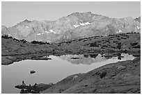Mountains and lake, upper Dusy basin, sunrise. Kings Canyon National Park, California, USA. (black and white)