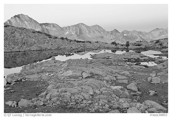Dusy Basin at dawn. Kings Canyon National Park (black and white)