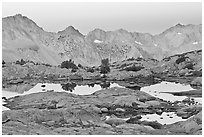Alpine lakes and mountain range at dawn, Dusy Basin. Kings Canyon National Park, California, USA. (black and white)