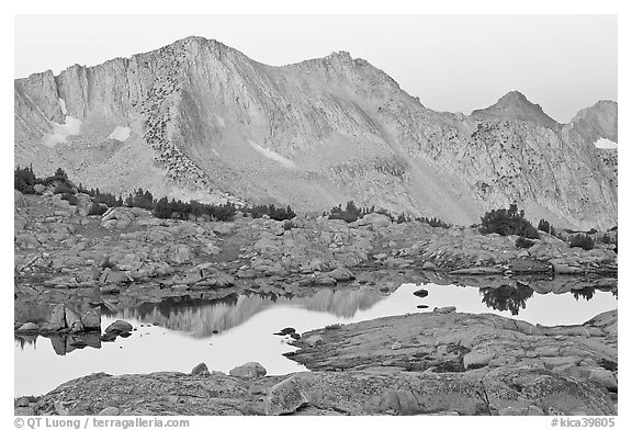 Mountains reflected in calm alpine lake at dawn, Dusy Basin. Kings Canyon National Park (black and white)