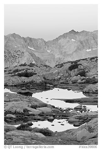 Alpine tarns and mountains, dawn, Dusy Basin. Kings Canyon National Park (black and white)