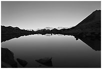 Lake and reflections, early morning, Dusy Basin. Kings Canyon National Park ( black and white)
