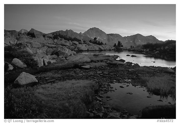 Ponds in Dusy Basin and Mt Giraud, sunset. Kings Canyon National Park (black and white)