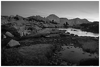 Ponds in Dusy Basin and Mt Giraud, sunset. Kings Canyon National Park, California, USA. (black and white)