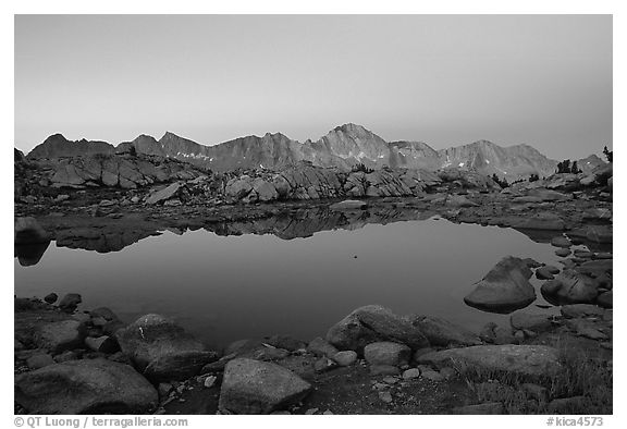 Pond in Dusy Basin and Mt Giraud, dawn. Kings Canyon National Park (black and white)
