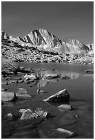 Mt Giraud reflected in a lake in Dusy Basin, morning. Kings Canyon National Park, California, USA. (black and white)