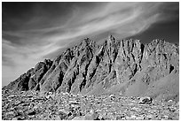 Mt Agasiz above Bishop Pass, afternoon. Kings Canyon National Park, California, USA. (black and white)