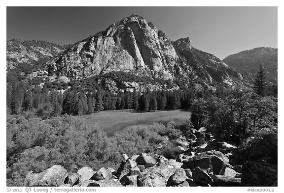 Zumwalt Meadow and North Dome in spring. Kings Canyon National Park (black and white)